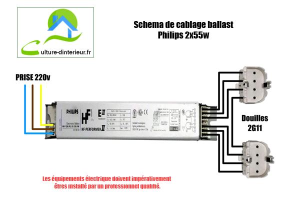 Sch ma de cablage ballast philips 2x55w growshop materiel for Schema chambre de culture