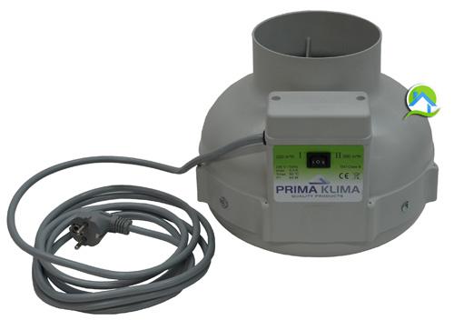 Extracteur prima klima 125mm 220m3 ou 360m3 2 vitesses for Extracteur d air 80 mm