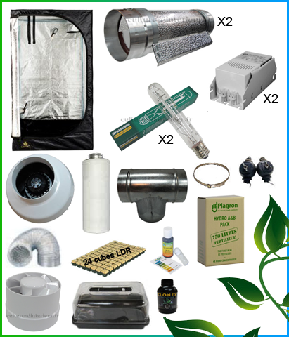 Kit complet 2x400w cooltube box 150 557 10 growshop for Chambre de culture kit complet cannabis