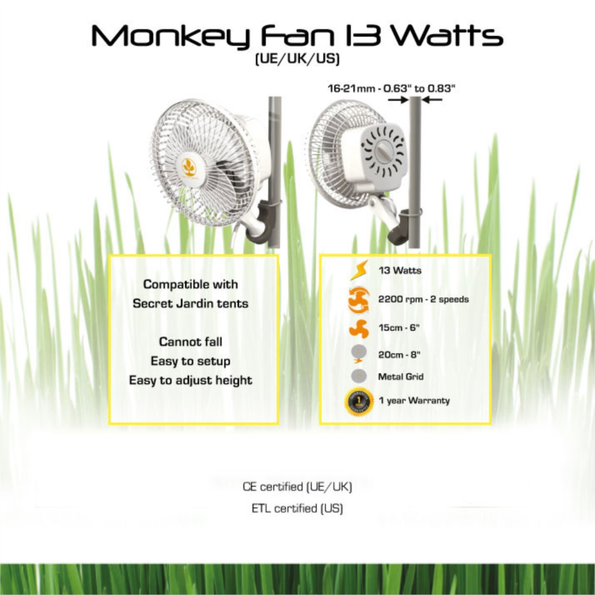 Ventilateur secret jardin monkey fan 16w 17 90 growshop - Ventilateur chambre de culture ...